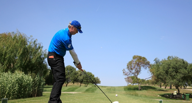 Gary teeing off at the 2012 Mallorca Open Senior before eventually winning the inaugural title