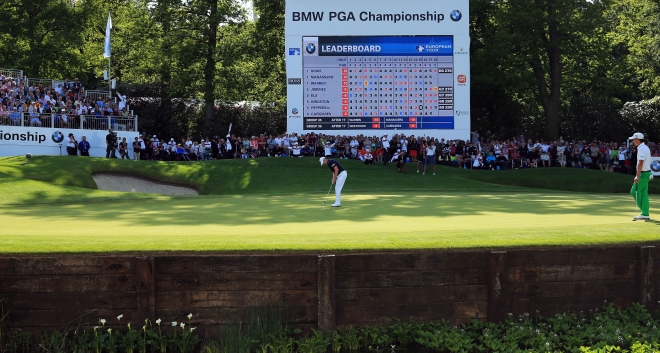 Marc holing out at the 72nd hole of the 2013 BMW PGA Championship to earn a place in the playoff