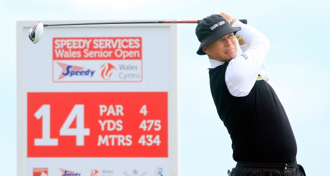Gary teeing off at the 14th during the opening round of the Speedy Services Wales Senior Open 2013