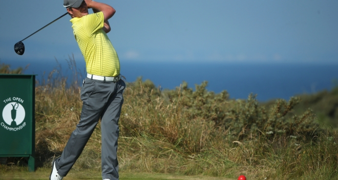 Marc plays the 5th hole at Muirfield during his final practice round before The Open Championship 2013