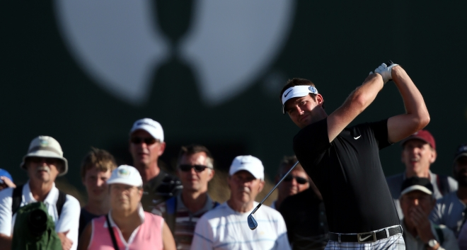 Scott Jamieson tees off during The Open Championship, complete with Nike tartans