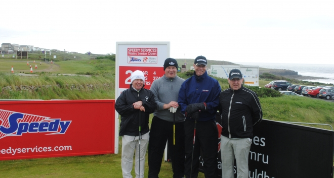 Gary about to tee off with his group in the Speedy Services Pro-Am (Leigh Cummings, Tom McPake and Stephen McCreadie)
