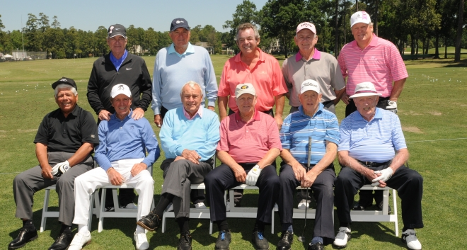 Tony playing in the Greats of Golf tournament alongside Arnold Palmer, Jack Nicklaus and Gary Player