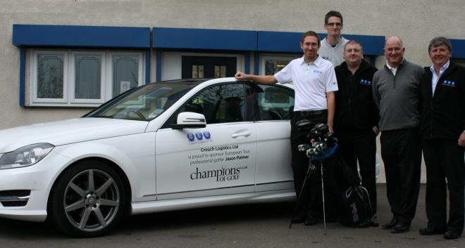 In the picture from left to right: Jason Palmer – Professional Golfer, Lloyd Bailey – Sports Manager, Champions of Golf, Chris Crouch – Owner, Crouch Logistics, Peter Baker, Tour Golf Manager, Champions of Golf and Ken Crouch – Owner, Crouch Logistics