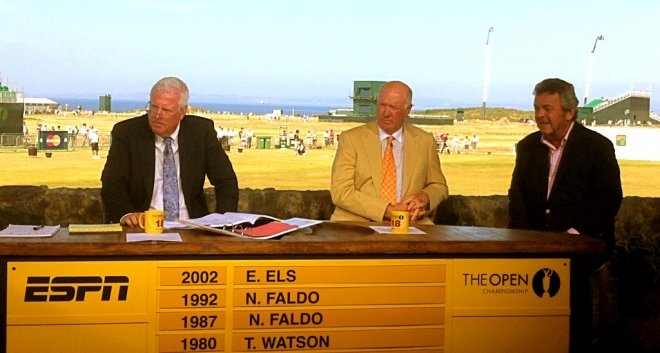 Tony live on ESPN with Jim Kelly and Tom Weiskopf, winner of the 1973 Open Championship