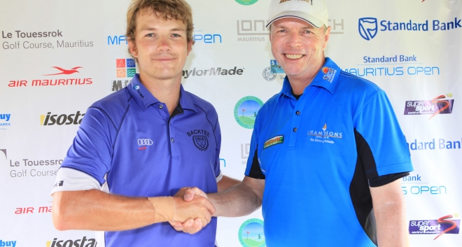 2012 Standard Bank Mauritius Open champion Gary Wolstenholme alongside the 2013 Standard Bank Mauritius Open winner Mark Haastrup