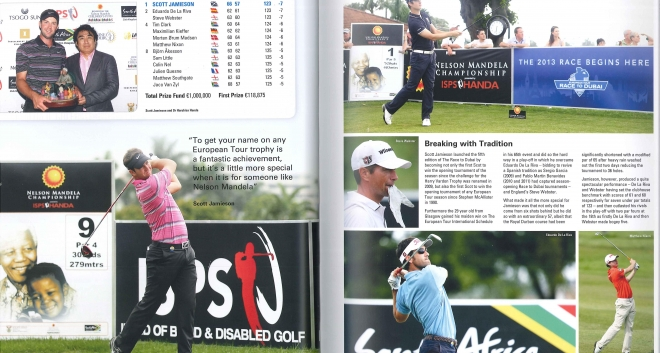 Scott's feature in the 2014 European Tour Yearbook featuring his win at the Nelson Mandela Championship presented by ISPS Handa