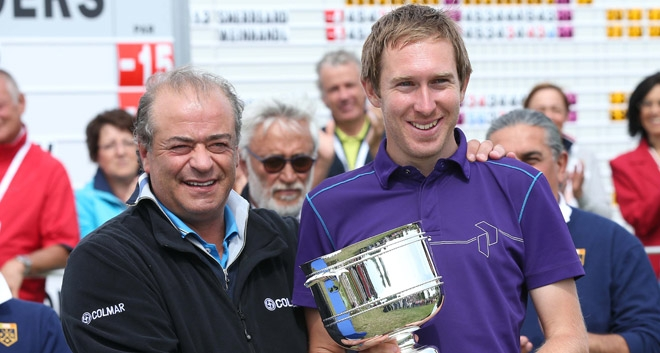 Jason with the Grado Open trophy, presented by European Tour winner Constantino Rocca